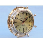 Handcrafted Model Ships  Brass Double Dial Porthole Wheel Clock 8 in. Ship Wheels Decorative Accent (HDFM1795)