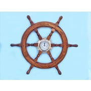 Handcrafted Model Ships  Deluxe Class Wood And Brass Ship Wheel Clock 24 in. Ship Wheels Decorative Accent (HDFM1823)