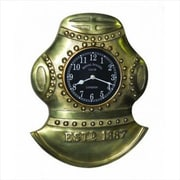 Handcrafted Model Ships  Antique Solid Brass Divers Helmet Clock 17 in. Decorative Accent (HDFM804)
