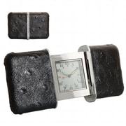 Natico Originals  Slide Travel Alarm Clock with Black Leather (NOI001)