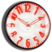 Opal Luxury Time Products  Dome Glass Clock Raised Bold Red Figures (OPLX027)