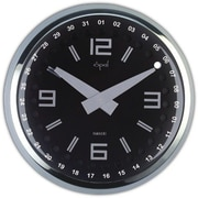 Opal Luxury Time Products  Stainless Steel Round Case Clock With Dome Glass - Black (OPLX048)