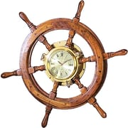Benzara  26 In. Solid Wood Shipwheel Porthole Brass Clock Nautical (WLMGC0176)
