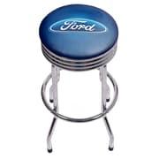 Ford Chrome Ribbed Bar Stool - Ford Oval Logo (886511971653)