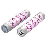 Mota® Tamo Super Lightweight Battery Stick with LED Flashlight, 2200 mAh, Pink Ribbon (STIK22-PNKRBN)