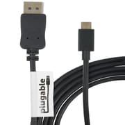 Plugable® USBC-DP 6' USB 3.1 Type C to DisplayPort Audio/Video Cable, Black