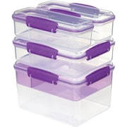 Sistema USA® 4 Piece Attack Stack Food Storage Container Set, Purple/Clear (1849)