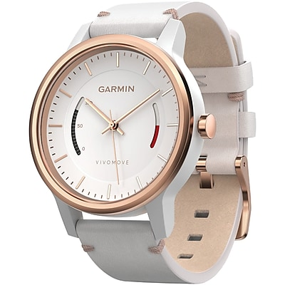 Garmin 010 01597 13 Vivomove Smart Watch leather Band; Rose gold Tone