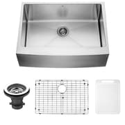 Vigo 30 inch Farmhouse Apron Single Bowl 16 Gauge Stainless Steel Kitchen Sink w/Grid and Strainer