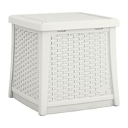 Suncast Cube 13 Gallon Resin Deck Side Table w/ Storage; White