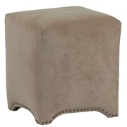 LefflerHome Emma Upholstered Nailhead Cube Ottoman; Donna Coffee