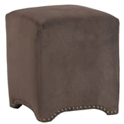 LefflerHome Emma Upholstered Nailhead Cube Ottoman; Night Party Chocolate
