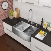 Vigo Alma 36 inch Farmhouse Apron 60/40 Double Bowl 16 Gauge Stainless Steel Kitchen Sink; Yes
