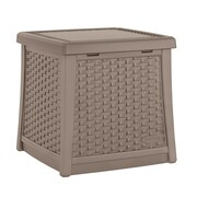 Suncast Cube 13 Gallon Resin Deck Side Table w/ Storage; Dark Taupe