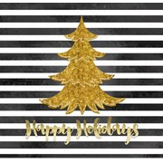 Secretly Designed 'Black and White Stripe Gold Christmas Tree' Graphic Art