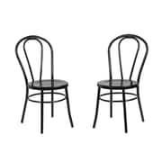 Kate and Laurel Modern Metal Side Chair (Set of 2); Black