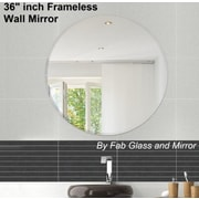 Fab Glass and Mirror Beveled Polished Frameless Wall Mirror with Hooks; 36'' H x 36'' W x 0.25'' D
