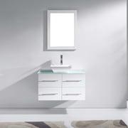 Virtu Marsala 35'' Single Bathroom Vanity Set with Tempered Glass Top and Mirror; White