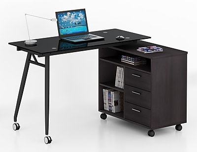 Inland ProHT L-Shape Computer Desk w/ 3 Drawers; Gray WYF078279339594