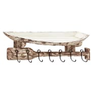 Cole & Grey Wood and Metal Wall Hook Shelf