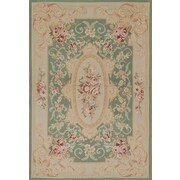 ECARPETGALLERY Hand-Knotted Green/Beige Area Rug