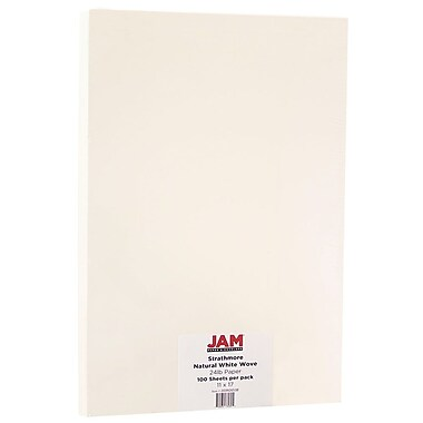 JAM Paper® Strathmore Tabloid Paper, 11 x 17, 24lb Natural White Wove, 100/Pack (203926538)