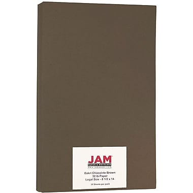JAM Paper® Matte Legal Paper, 8.5 x 14, 28lb Bakri Chocolate Brown, 50/Pack (64426903)