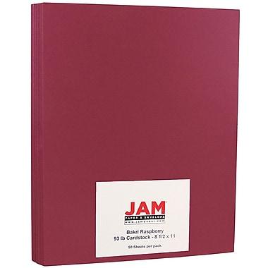 JAM PaperMD – Papier de couverture cartonné, 93 lb, 8 1/2 x 11 po, framboise Bakri, paquet de 50 feuilles