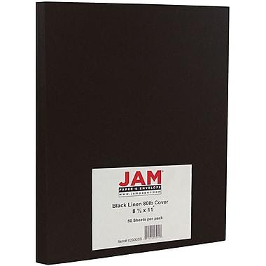 JAM Paper® Matte Cardstock, 8.5 x 11, 80lb Black Linen Recycled, 50/pack (6293359)