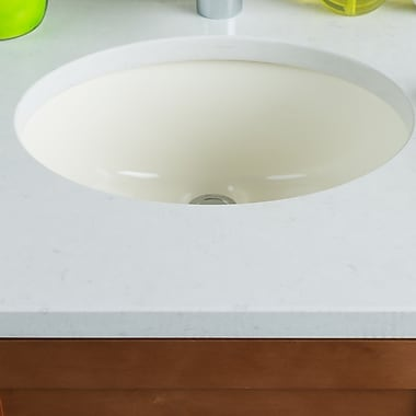 Hahn Ceramic Bowl Oval Undermount Bathroom Sink w/ Overflow; Bisque