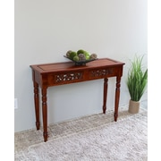 International Caravan Windsor Hand Carved Wood 2-Drawer Indoor Console Table