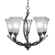 Toltec Lighting Bow 5 Light Shaded Chandelier; Frosted Crystal Glass