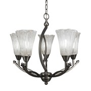 Toltec Lighting Bow 5 Light Shaded Chandelier; Italian Ice Glass
