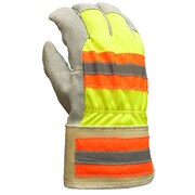 Apollo Leather Palm Gloves, Cowhide, 40 gram Thinsulate® Liner, Hi Viz Reflective Back, Safety Cuff, Large