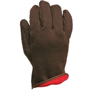 Brown Jersey Glove, Red Fleece Insulated Liner, Pull - On Style, (5194)