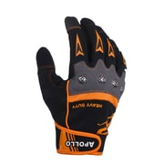 Apollo Heavy Duty Glove, High Performance, Touch Screen, Knuckle Guard Protection, Adj. Wrist Strap, Large, Black Orange