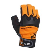 Heavy Duty Fingerless Glove, Touch Screen, With Knuckle Padding, Adjustable Wrist Strap, Reinforced Palm, Orange (6054)