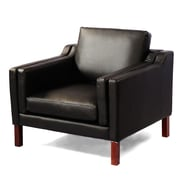 Kardiel Monroe Mid Century Modern Leather Guest Club Chair; Black