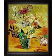 Tori Home 'Japanese Vase w/ Roses and Anemones, 1890' by Vincent Van Gogh Framed Painting Print