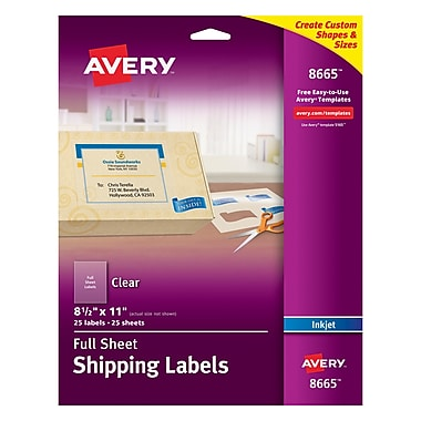 Avery® 8665 Clear Inkjet Full Sheet Shipping Labels, 8-1/2