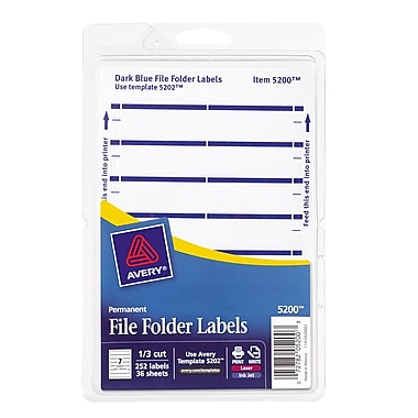 Avery® 5200 Print-or-Write Dark Blue File Folder Labels, 252/Pack