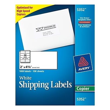 Avery 5352 white copier shipping labels 2 x 4 1 4 for Staples white mailing labels template