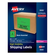 "Avery(R) High-Visibility Shipping Labels 05935, Neon Assorted, 8-1/2"" x 11"", Pack of 100"