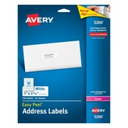 "Avery 1"" x 2 5/8"" 5260 White Laser Address Labels with Easy Peel, 750/Box"