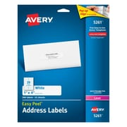 "Avery® 5261 White Laser Address Labels,  1"" x 4"", 500/Box"