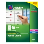 "Avery&reg: Removable Round Labels 6450, 1"" Diameter, White, Pack Of 945"