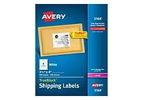 Avery Laser Shipping Labels with TrueBlock™, 3-1/3' x 4', White, 600/Box (5164)