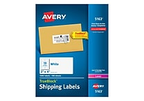 Avery Laser Shipping Labels with TrueBlock™, 2' x 4', White, 1,000/Box (5163)