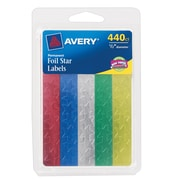 "Avery® 6007 Self-Adhesive 1/2"" Foil Star Labels, Assorted, 440/Pack"