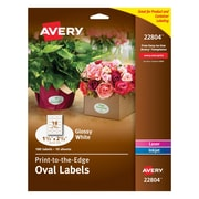 Avery 1.5 inch x 2.5 inch Easy Peel Print to the Edge Oval Labels, White, 180/Box (22804) by